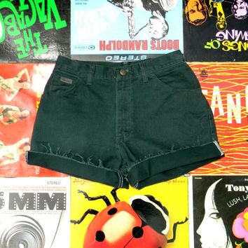 Vintage WRANGLER Dark Green Denim Cut Offs, 90s High Waisted Jean Shorts, Frayed, Rolled Up, Naturally Distressed Shorts Size 8 M Medium