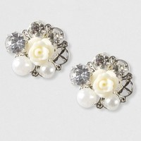 All-in-One Flower, Pearl and Crystal Stud Earring – Claire's
