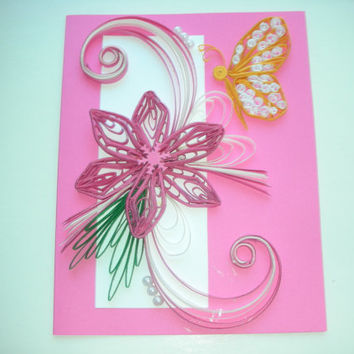 Happy Birthday Card Birthday Card Mom Friend  Handmade Quilling Card@daintybritecards
