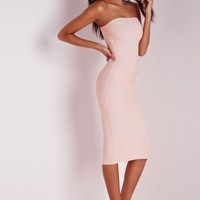 Missguided - Strapless Bandage Bodycon Dress Nude