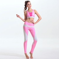 GXQIL Women Yoga Sport Suit Bra Sets Print Quick Dry  Gym Clothes Female Fitness Tracksuits Sexy Running Jogging Sportswear Kits