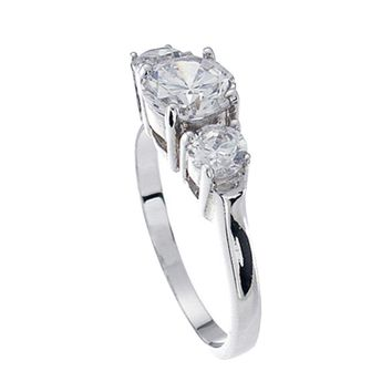 Plutus Brands 925 Sterling Silver Platinum Finish Brilliant Three Stone Engagement Ring 1.5 Carat Weight - Size 9