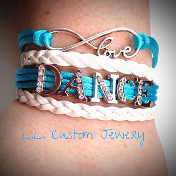 4 Strand - Love DANCE Rhinestone on Braided Cord - Customize w/a different color or Words, like team name, studio name, name of person, etc