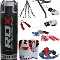 RDX 13 Piece Boxing Set 5FT /4FT Filled Heavy Punch Bag,Gloves,Bracket MMA B