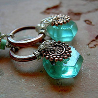 Luminous Green Glass Earrings .Ethnic Copper .Recycled Glass, Sea Glass Style