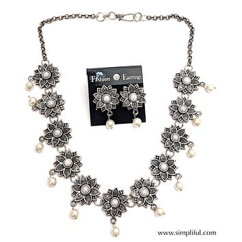 Oxidized Flower choker Necklace and Earring set