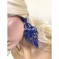 Blue Oversized Earrings Set | Windsor Palace Queen's Jewelry Collection | J3