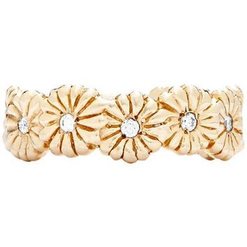 Montauk Daisy Flower Ring With Diamonds