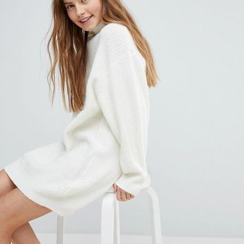 Bershka High Neck Knitted Jumper Dress at asos.com
