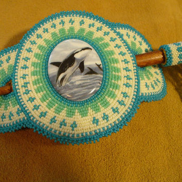 Native American Style Rosette beaded Orca Large Hair Stick Barrette