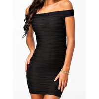 Sexy Off-The-Shoulder Solid Color Sleeveless Women's Dress