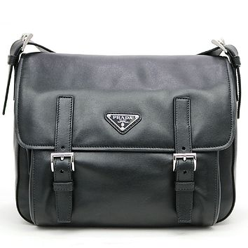 Prada Black Soft Calf Leather Pattina Nero Shoulder Bag Satchel with Silver hardware BT953L