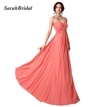 Cheap In Stock Sexy Sweetheart Coral Colored Bridesmaid Dresses Simple Pleat Long Chiffon Lace Up Back Wedding Party Gowns SD182