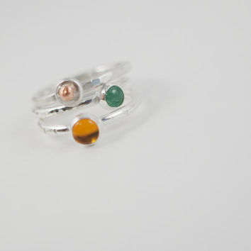 Sterling Silver Stacking Ring Set Stack Ring Amber Jewelry Aventurine Jewelry Stackable Boho Jewelry Trendy Jewelry Popular Jewelry