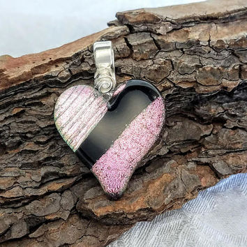 Pastel Pink Black Fused glass heart necklace PMC Jewelry rose, mosaic glass heart, dichroic jewelry PMC heart rose, Artisan Art Glass
