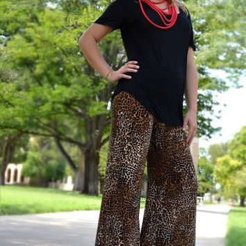 Cheetah Palazzo Pants with red lace