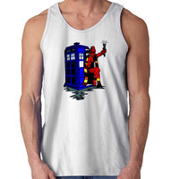 deadpool has the TARDIS For Mens Tank Top and Womens Tank Top *