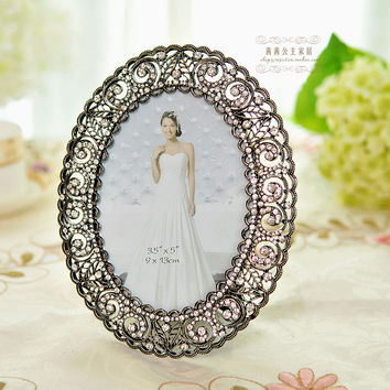 Rhinestone quality 5 photo frame fashion vintage metal swing sets photo frame wedding gift