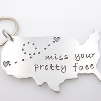 USA map keychain, Miss your pretty face, gift for long distance love her, state to state, going away gift, long distance friends family, ldr