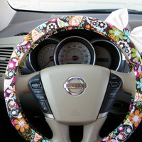 Colorful Paisley Steering Wheel Cover with Matching by BeauFleurs