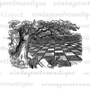 Printable Huge Game of Chess Digital Image Alice in Wonderland Download Antique Graphic Vintage Clip Art Jpg Png Eps  HQ 300dpi No.223