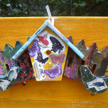 Birds Butterfly Decor, Garden Decor, Decoupage Artsy, Porch Decor, Assemblage Collage Art, Rustic Gardener Gift, Wooden Birdhouse