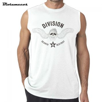 Men Tank Tops Fashion 100% Cotton Brand Sleeveless T-shirts Skull and letters Image Printed Casual Summer Vest