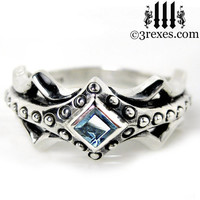 Fairy Princess Silver Engagement Ring Blue Topaz Size 6