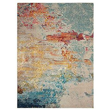 "Nourison Celestial (CES02) Modern Abstract Accent Area Rug, 2'2"" x 3'9"", Multicolor Grey"