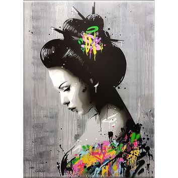 Modern Home Decor HD Painting Art Japanese Woman Print on The Canvas (No Frame)