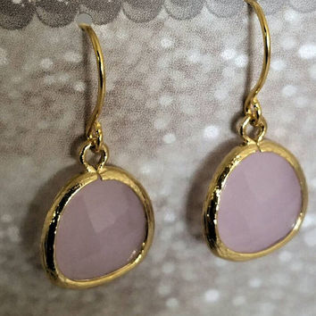 Opal pink teardrop earrings, light pink earrings, 14 Karat gold plated, prom earrings, bridesmaid earring, teardrop earrings,