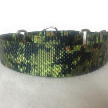 "Digital Camo Jungle Martingale or Quick Release Collar Nylon 3/4"" 1"" Martingale 1.5"" Martingale 2"" Martingale"