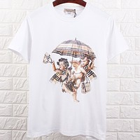 Burberry Women Men Fashion Casual  Short Sleeve