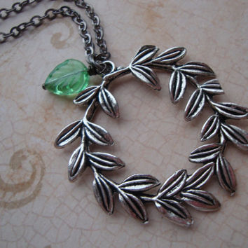 Greek God Laurel Leaves - Percy Jackson Lightning Thief Laurel Leaf Wreath Necklace in Antiqued Silver with Green Czech Glass Leaf