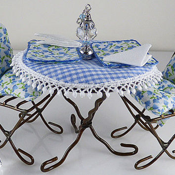 Miniature 1:12 Scale Blue Dollhouse or Fairy Garden Bistro set, Cushions, Tablecloth, Placemats, Napkins, Table Lantern, and Picnic Blanket