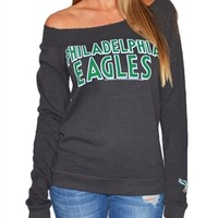Philadelphia Eagles Off Shoulder Womens Sweatshirt | SportyThreads.com