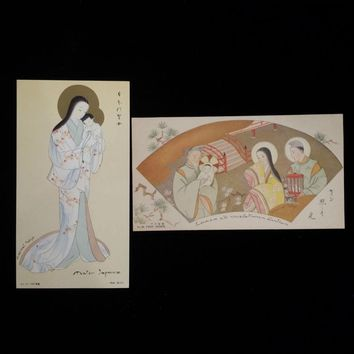 Pair of Japanese Nativity and Madonna & Child Holy Cards