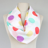 Easter scarf pastel infinity scarf rainbow scarf polka dot scarf loop scarf easter outfit circle scarf spring scarf summer scarves women