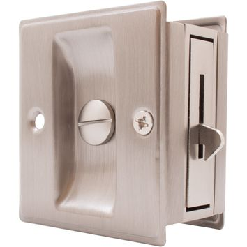Square Pocket Door Lock Bed/Bath Latch