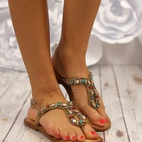 Ring Teaser Sandals in Nude