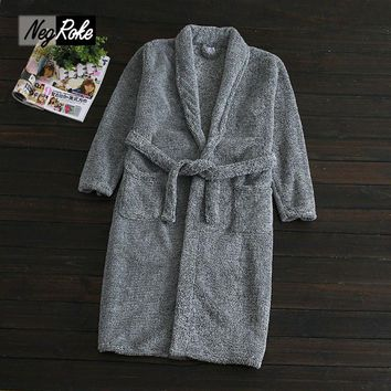 Plus size Winter long-sleeve gray coral fleece mens robes thicken simple bathrobe couples dressing gowns men peignoir homme