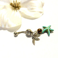 Starfish Dangle Belly Button Ring, Turquoise Blue Body Jewelry, Sexy Body Candy, Nautical 14G Navel Ring, Nautical Summer Jewelry