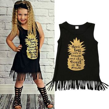 Kids Baby Girls Summer Floral Pineapple Tassels Party Cotton Tutu Dress USA wea