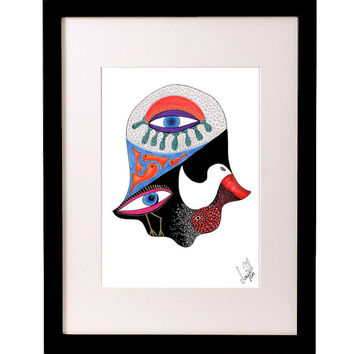 HAMSA hand artwork in pink colors, abstract and surreal art. Signed print of original ink drawing in a beautiful modern and graphic design!