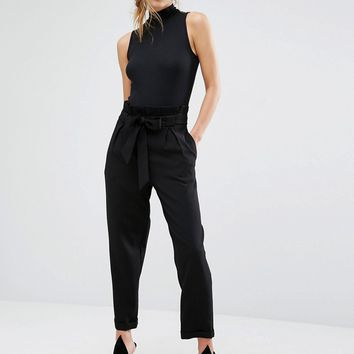 Parallel Lines Ankle Grazer Pants With Tie Waist