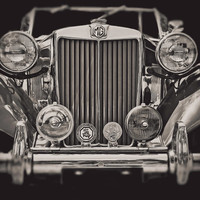 Classic Car Photography, MG Photo, Vintage Car, Man Cave, Manly Decor, Car Enthusiast, Gift for Him, For Dad, Black and White Metallic Print