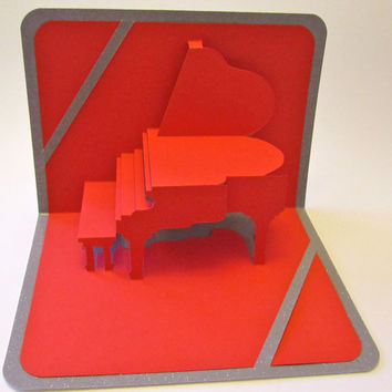 VALENTINES 3D Pop Up Grand Piano CARD Origamic Architecture Home Decoration Handmade Handcut in Red and Bright Shimmery Metallic Silver