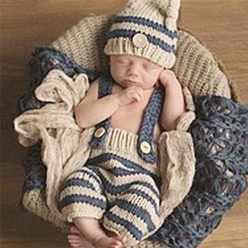 CREYONJ 0-4M Newborn Baby Photography Props Infant Knit Crochet Costume Blue Striped Soft Outfits Elf Button Beanie+Pants