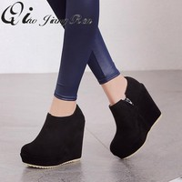 2018 Autumn Winter New Stylish Women Ankle Boots Sexy Platform Round Toe Wedges Boots Woman Ankle Boots Plus size 32-43