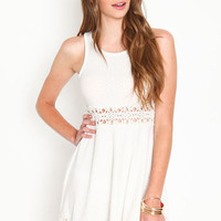CROCHET BANDS SKATER DRESS